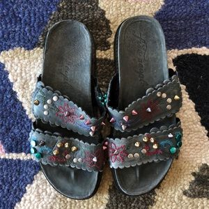 Free people Embroidered & Studded Slide Sandals